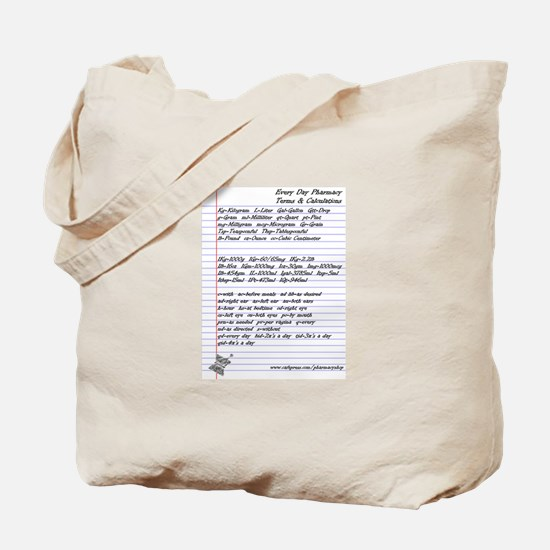 Pharmacy Terms & Calculations Tote Bag
