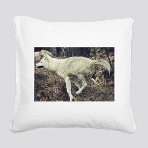 """""""Running Arctic Wolf"""" Square Canvas Pillow"""