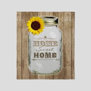 Home Sweet Home Rustic Mason Jar Throw Blanket
