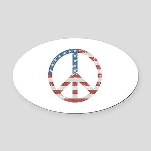 Vintage Peace USA Oval Car Magnet