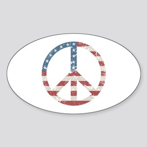 Vintage Peace USA Sticker (Oval)