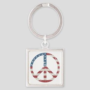 Vintage Peace USA Square Keychain