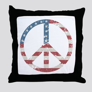 Vintage Peace USA Throw Pillow