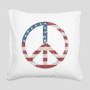 Vintage Peace USA Square Canvas Pillow