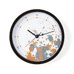 Blue orange Burst Wall Clock