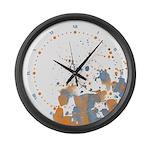 Blue orange Burst Large Wall Clock