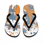 Blue Orange Burst Flip Flops