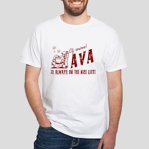 Nice List Ava Christmas White T-Shirt