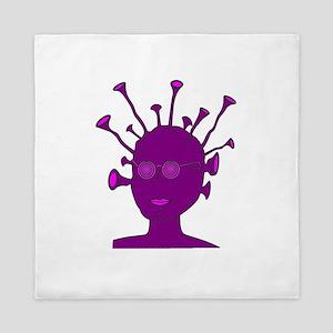 Purple Creature With Antennae Queen Duvet