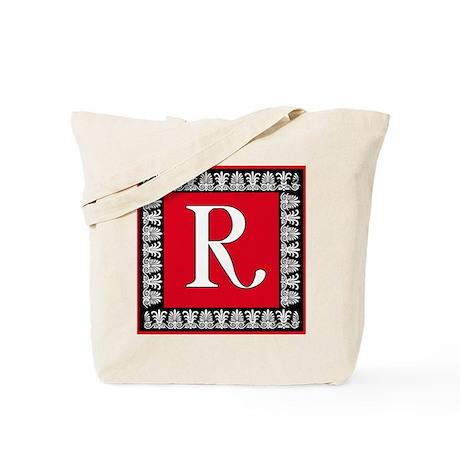 Red and Black Art Deco Initial R Tote Bag