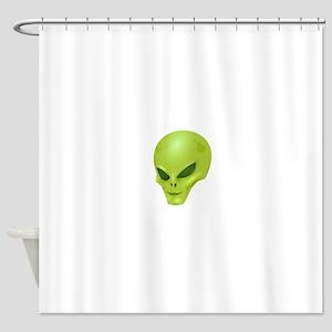 Green Alien Skull Shower Curtain