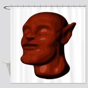 Red Alien Head Shower Curtain