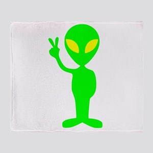 Green Peace Alien Throw Blanket