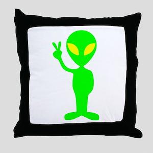 Green Peace Alien Throw Pillow