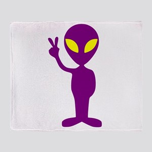 Purple Peace Alien Throw Blanket