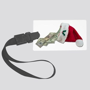 MoneyPouringSantaHat091711 Large Luggage Tag