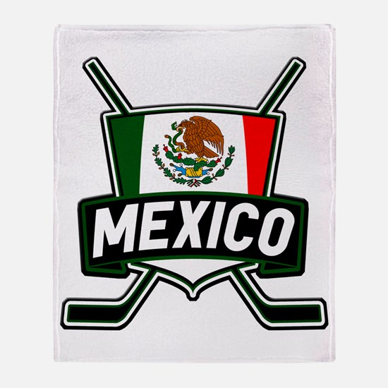 Mexico Ice Hockey Shield Throw Blanket