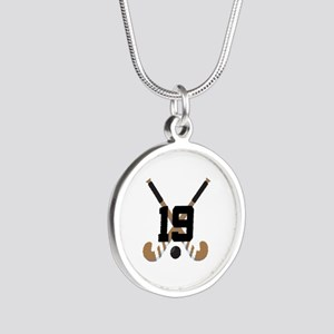 Field Hockey Number 19 Silver Round Necklace