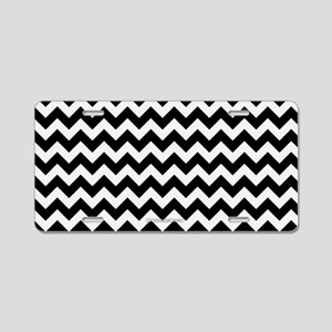Chevron Black and W... Aluminum License Plate
