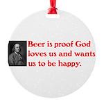 Ben Franklin Beer Quote Ornament