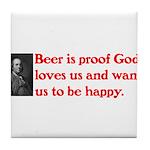 Ben Franklin Beer Quote Tile Coaster