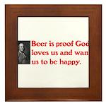 Ben Franklin Beer Quote Framed Tile