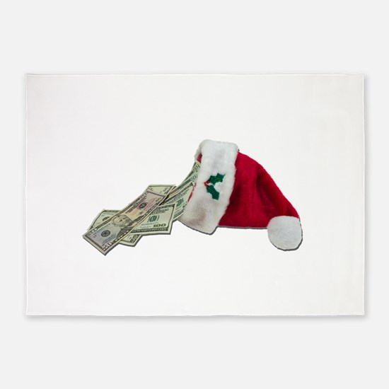 MoneyPouringSantaHat091711.png 5'x7'Area Rug