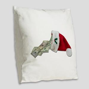 MoneyPouringSantaHat091711 Burlap Throw Pillow