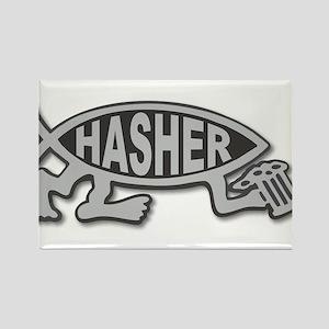 HashFish - Hasher - BW Rectangle Magnet