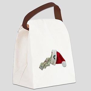 MoneyPouringSantaHat091711 Canvas Lunch Bag