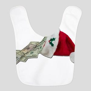 MoneyPouringSantaHat091711 Polyester Baby Bib