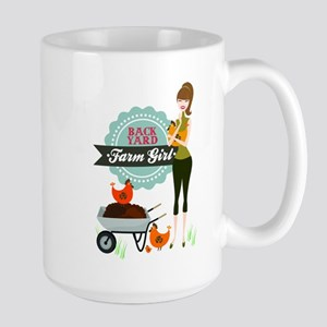 Backyard Farm Girl Large Mug