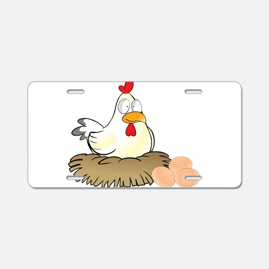 Chicken and Eggs Aluminum License Plate
