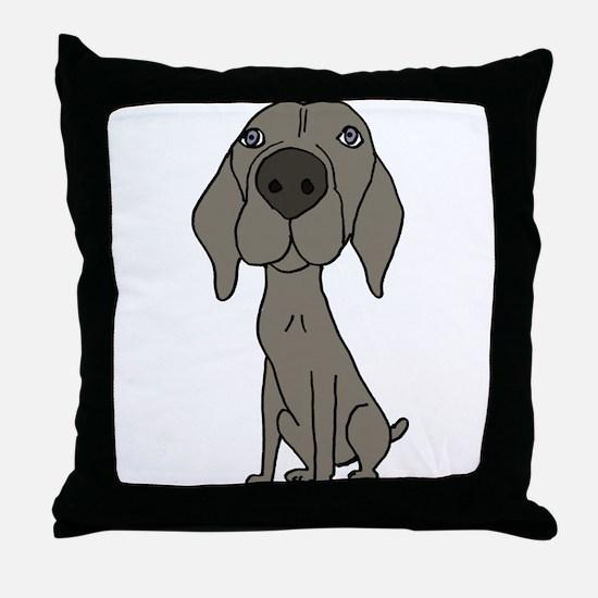 Cute Weimaraner Puppy Dog Cartoon Throw Pillow