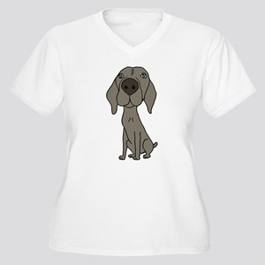Cute Weimaraner Puppy Dog Cartoon Plus Size T-Shir