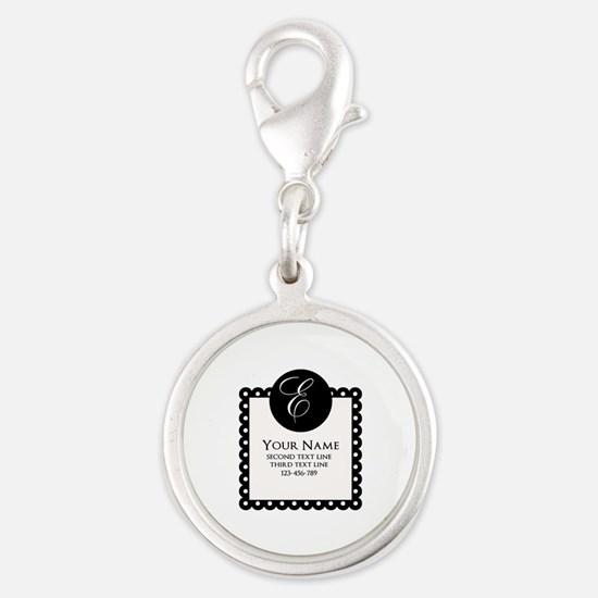 Personalized Texts Silver Round Charm