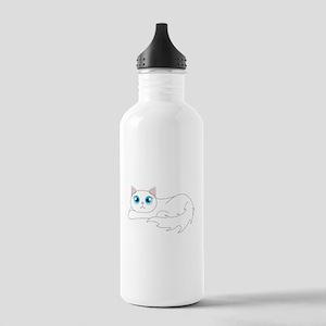 Cute Ragdoll Cat - White with Blue Eyes Water Bott