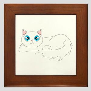Cute Ragdoll Cat - White with Blue Eyes Framed Til