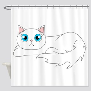 Cute Ragdoll Cat - White with Blue Eyes Shower Cur
