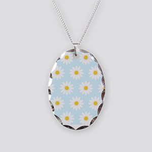 'Daisies' Necklace Oval Charm