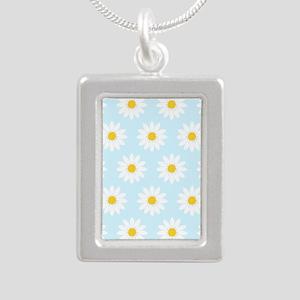 'Daisies' Silver Portrait Necklace