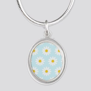 'Daisies' Silver Oval Necklace