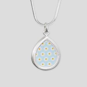 'Daisies' Silver Teardrop Necklace