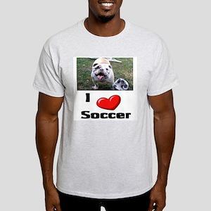 Soccer Playing Bulldog Ash Grey T-Shirt