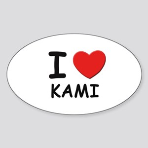 I love Kami Oval Sticker