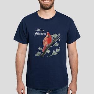 Merry Christmas Cardinal Dark T-Shirt