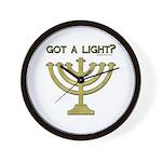 """""""Got A Light"""" Menorah Wall Clock"""