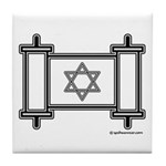 Star Of David Torah Scroll Tile Coaster
