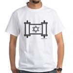 Star Of David Torah Scroll White T-Shirt