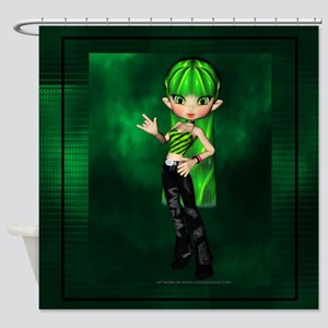 Toxic Green Cookie Girl Shower Curtain